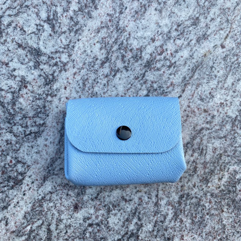 Leather cowhide colorful zero card bag-light blue melon pattern wallet coin purse card bag exchange gift