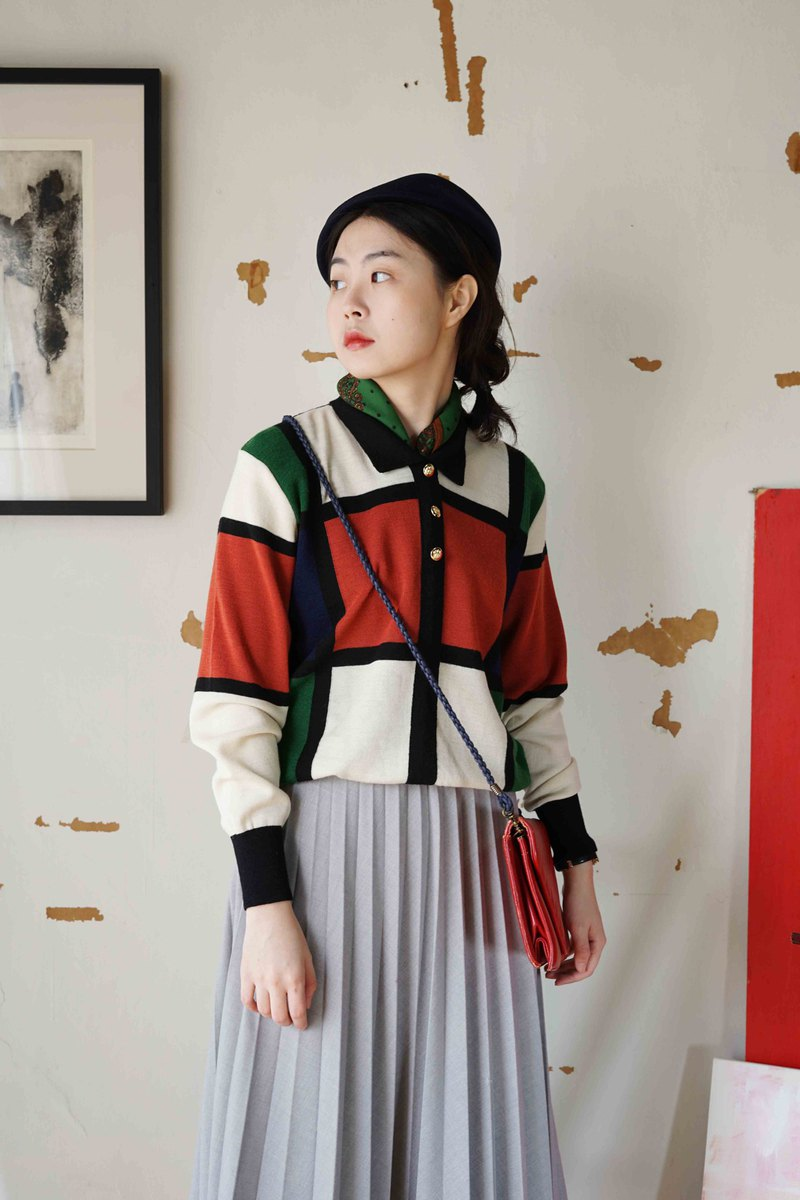 Treasure hunt vintage-Mondrian color block polo collar knitted sweater