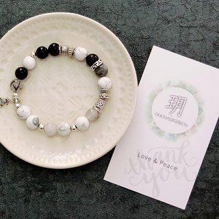 Memories crack silver natural stone silver bracelet │ black and white Yue unicorn natural stone 925 sterling silver Cangyin