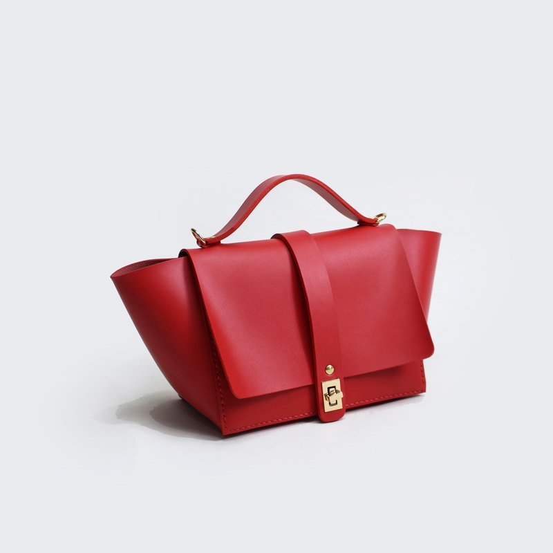 Zemoneni leather casual Shoulder bag & hand bag in red color
