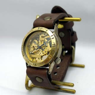 Handmade watch HandCraftWatch hand-rolled Brass Men's Roman numerals GD / BR [BHW057 Rome]