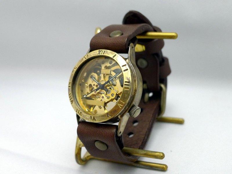 手工手錶HandCraftWatch手動上鍊黃銅男士羅馬數字GD / BR BHW057羅馬