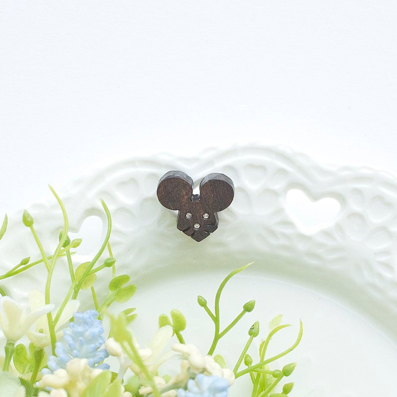 Mouse wooden earring ( 925 sterling silver studs) one per