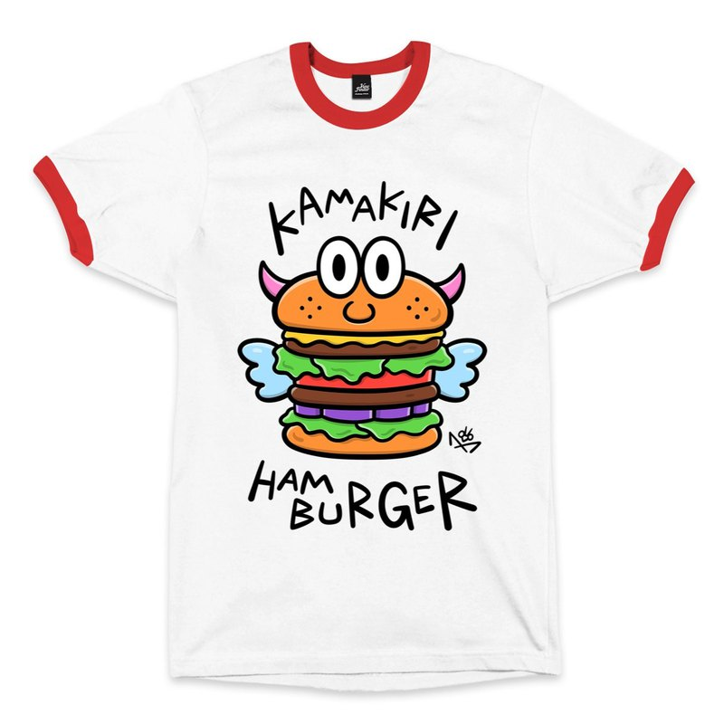 HAMBURGER - Rolled White/Red - Neutral T-Shirt