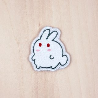 Milky rice fried rice cake cloth rabbit brooch / badge (BH002B)