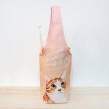 虎斑貓咪杯套 環保飲料提袋 飲料提袋 飲料杯套 防水提袋 杯套