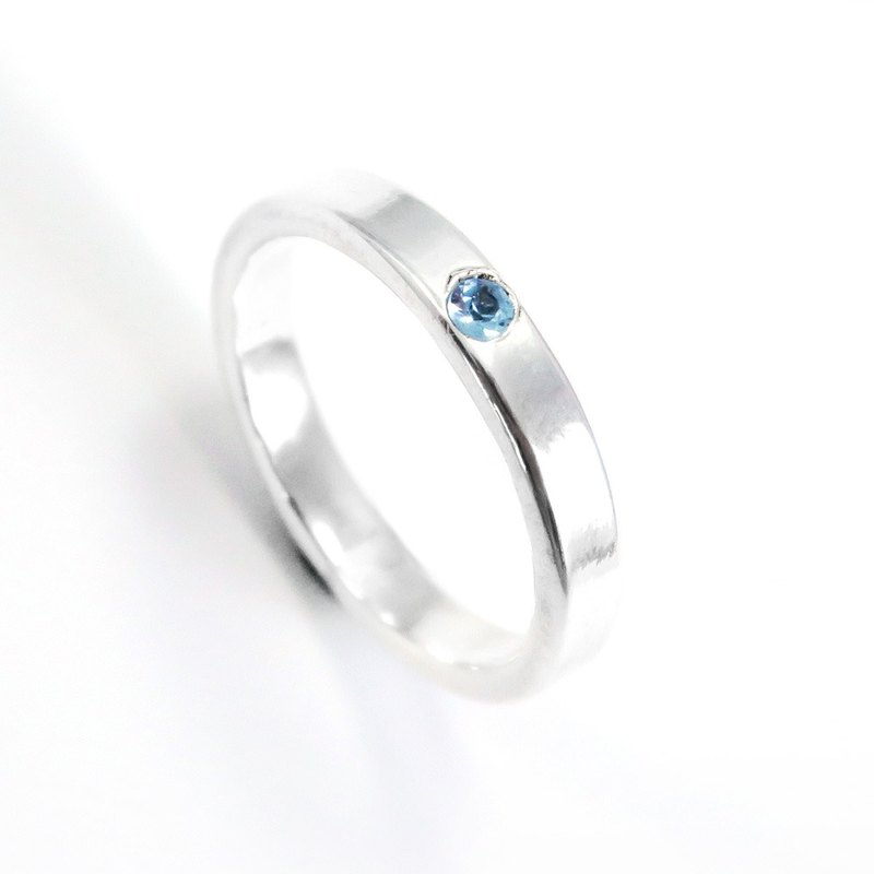 3mm Glossy Diamond Ring with Sterling Silver Ring (5 Colors Available)