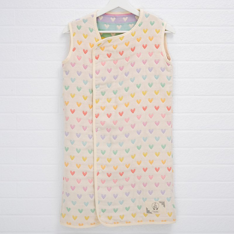 [Japan Sanhe Kapok] thickening six weight gauze anti-kick vest robe - eight color rainbow love XL
