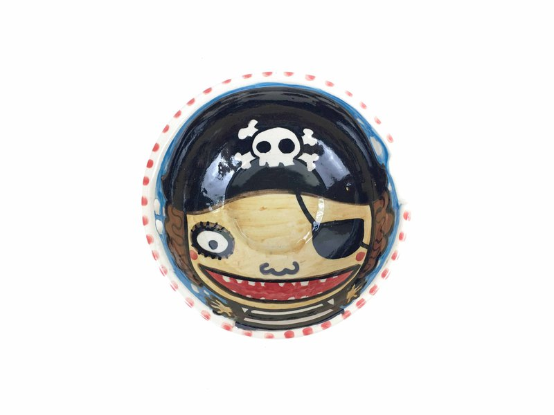 Nice Little Clay handmade shallow bowl _ little pirate 0202-01