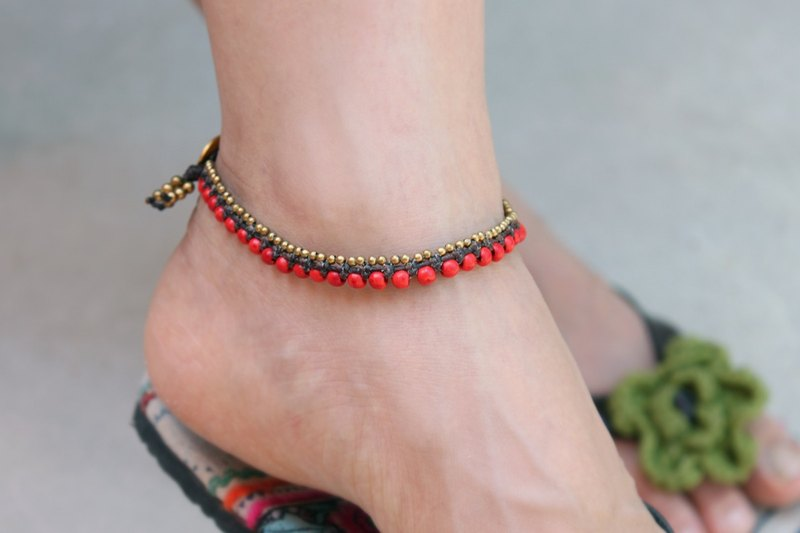 Red Coral Anklets Brass Stone Woven Ankle Bracelets