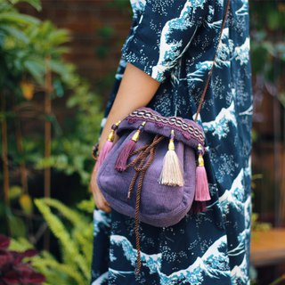 Journey original design homemade purple chubby pier tassel bag retro European court personality slung female bag
