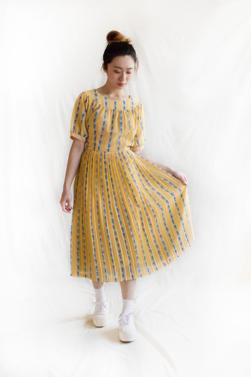 Yellow Peacock Short Sleeve Vintage Dress