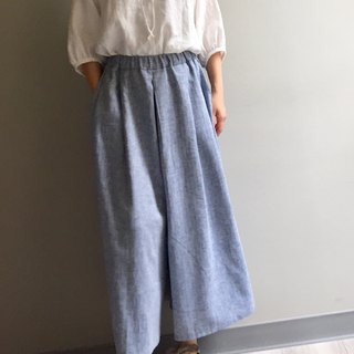 *Autumn Wind Trail*Herringbone Weave Linen Wide Pants Skirt 100% Linen