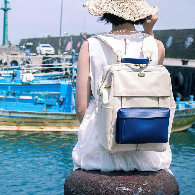 Double Plan detachable leather canvas backpack / blue