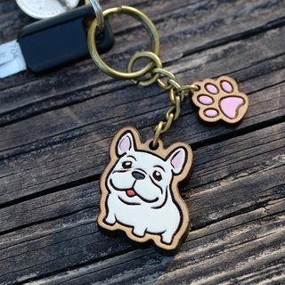 Painted Wooden key ring - Cute French Bulldog