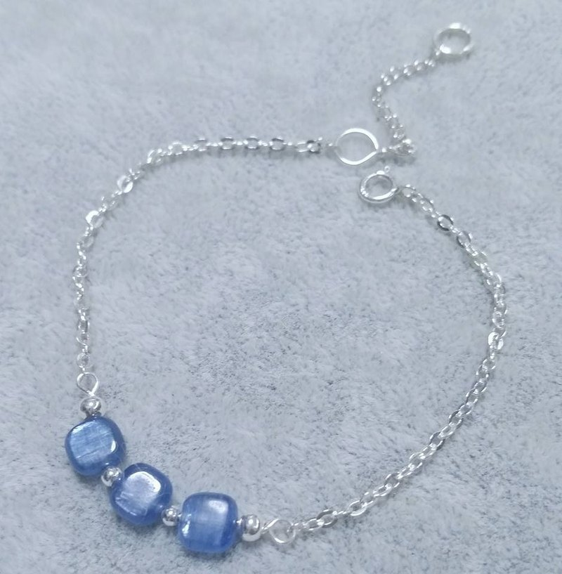 Kyanite box plus sterling silver beads pure silver bracelet Kyanite 925 silver bracelet