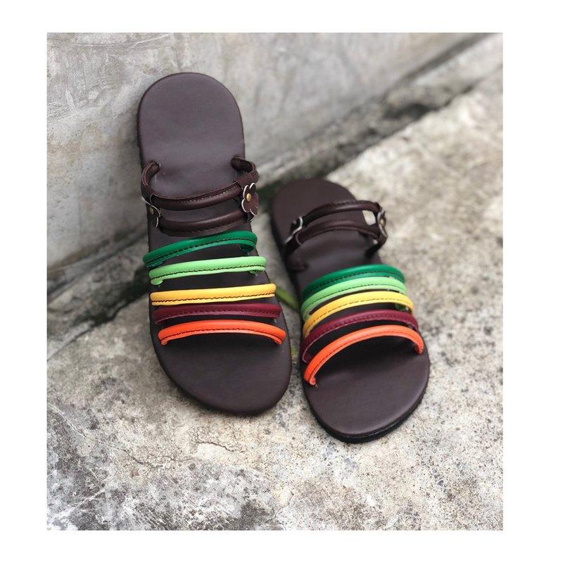波西米亞風鞋彩虹皮革涼鞋美麗的顏色鞋波西米亞鞋別緻的涼鞋