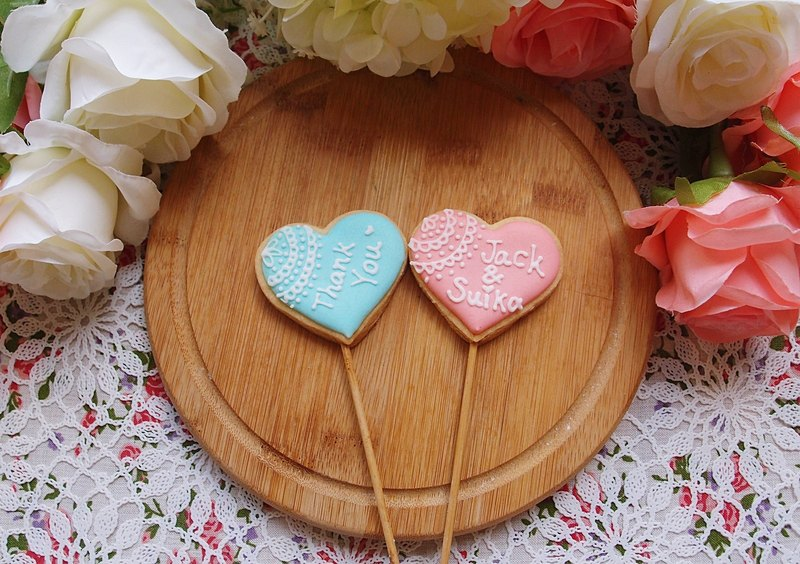 [Dream Wedding Small Things] Romantic Pink Lace Heart Lollipop Cookies (10 pieces)