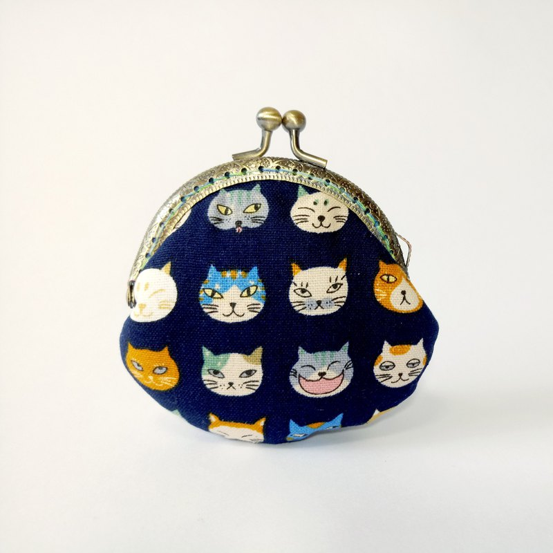 1987 Handmades 【Kittens Cat - Blue】 mouth gold bag purse clutch