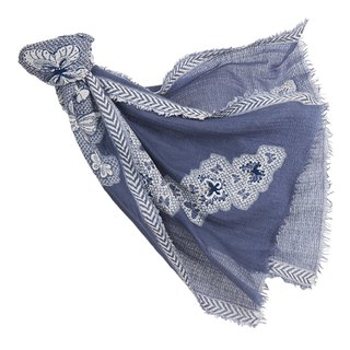 [Angel Woolen] Butterfly Dance Indian Hand Embroidered Wool Shawl - Blue