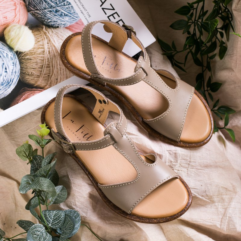 T-shaped open toe sandals _ gray
