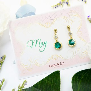 Edith & Jaz • Birthstone with CZ Collection - Emerald Quartz (May) Earrings