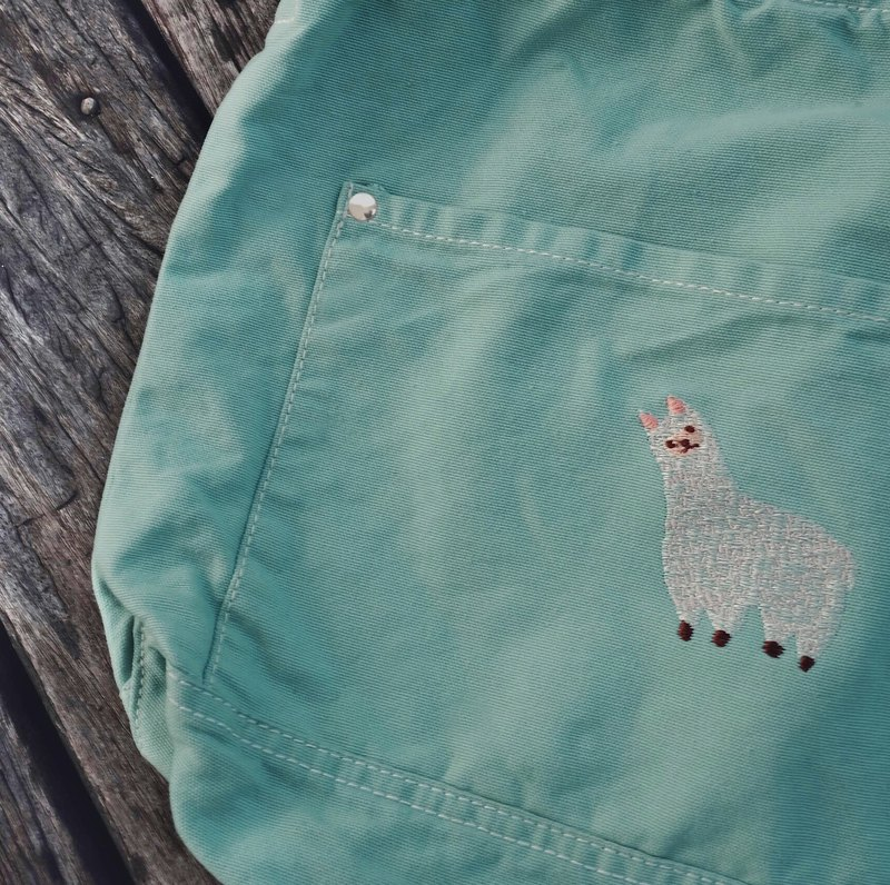 Alpaca Embroidery - Canvas Crossbody Bag : Mint
