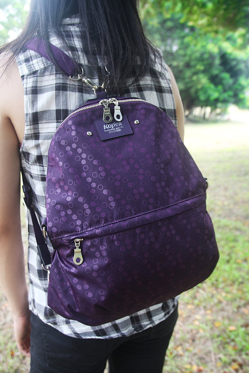 KOPER [lightly familiar dance] nylon three-use bag - fantasy purple