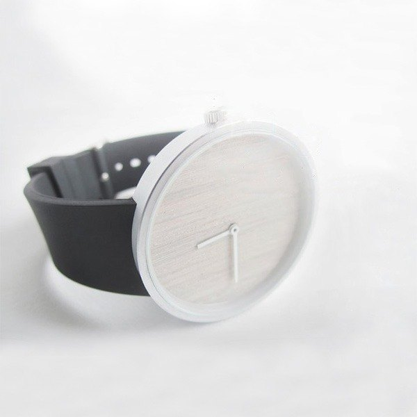 The two are together Wooden handmade watch Black metal bezel / white wax / silicone strap
