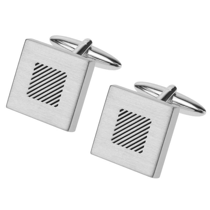 Brush Silver Black Stripes Square Cufflinks