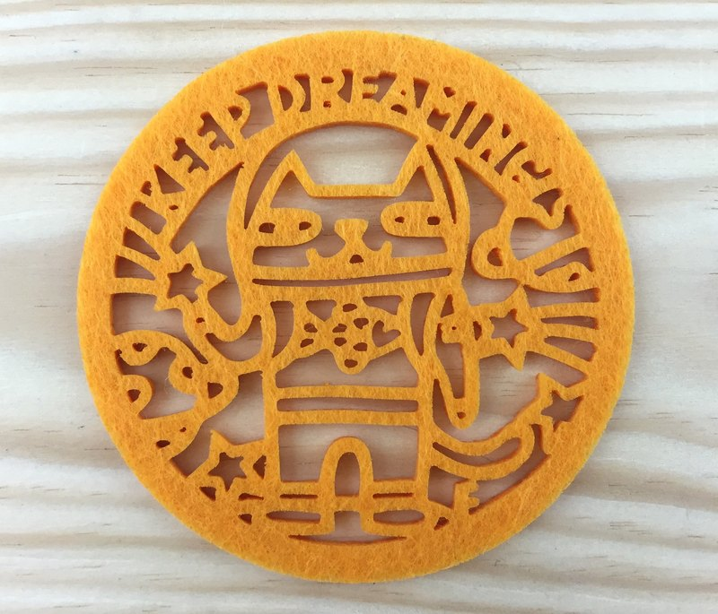 Good wife [paper] KEEP DREAMINGA cat coaster - orange / non-woven / water coaster / Space Cats