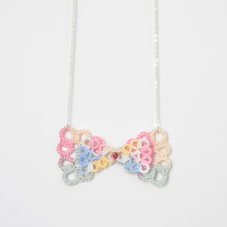 《Made To Order》『Double Bow』Rainbow Tatting Necklace