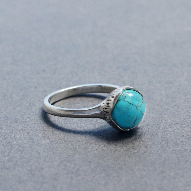 8mm Cabochon Ring - Number 8 Turquoise (#9JP)
