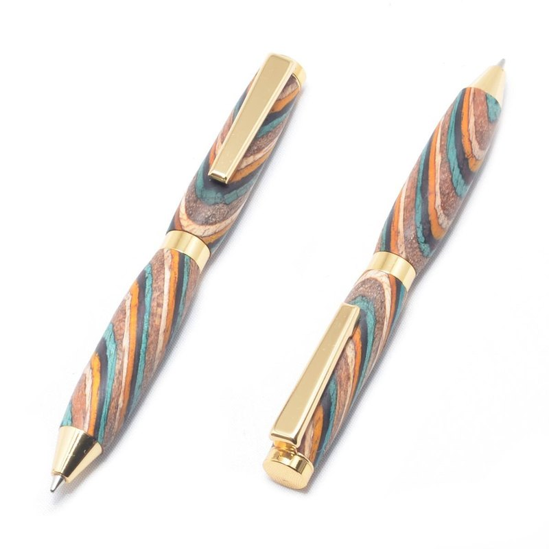 Wooden Mini Twist Ballpoint Pen (Dyed Hardwood, 24k Gold plating) CC-24G-CGSW