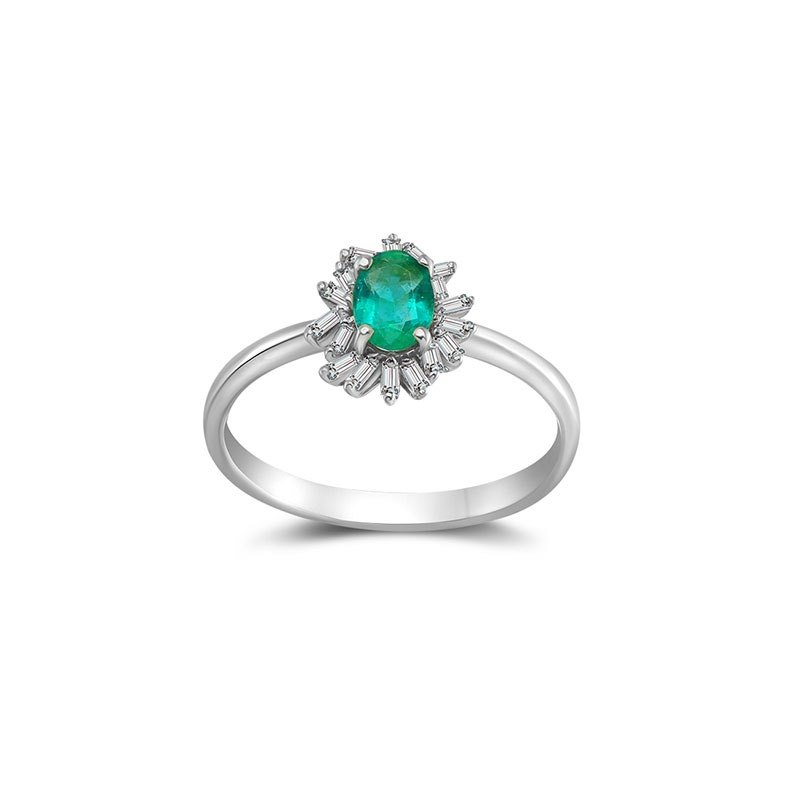 Emerald Ring Surrounded by Irregular Shape Diamond