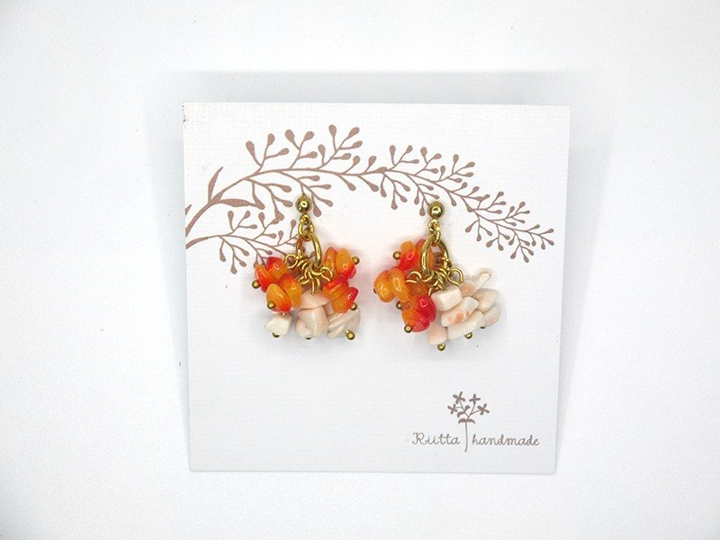 Firecrackers coral orange red earrings (can be folder-style)