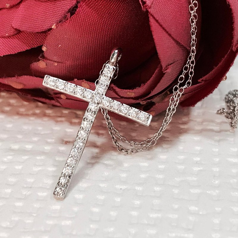 Cross Clavicle Necklace 925 Sterling Silver Petite Bling Sparkling Clear Round Z