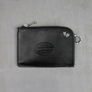 [METALIZE] stamped leather coin purse (sterling silver crying smile)