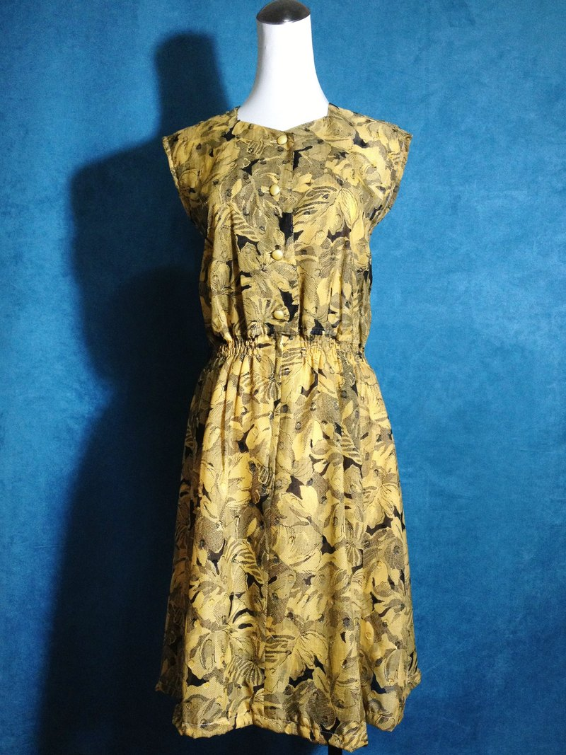 Ping-pong vintage [vintage dress / Arts yellow flowers sleeveless vintage dress] abroad back VINTAGE