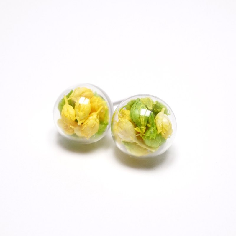 A Handmade lively yellow-green grass pink gradient small glass ball earrings