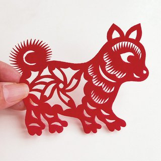 Flower dog paper-cut go01