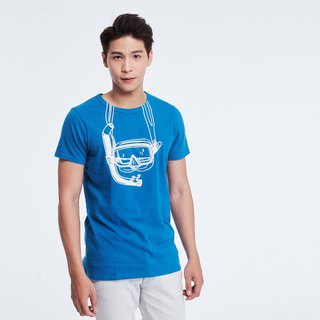 Goggles short sleeves white Tshirt _Men Navy