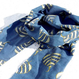 New Year gift birthday gift Valentine's Day gift limited edition a blue dye handkerchief cotton scarf / batik embroidery scarves / hand embroidery scarves / indigo hand-sewn cotton silk scarf - fresh forest hand-embroidered yellow plant leaves