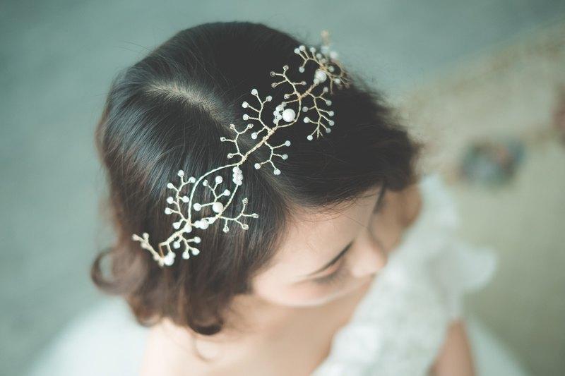 Golden Coral Tiara /新娘頭飾/訂製飾物/手製飾物/手工製作