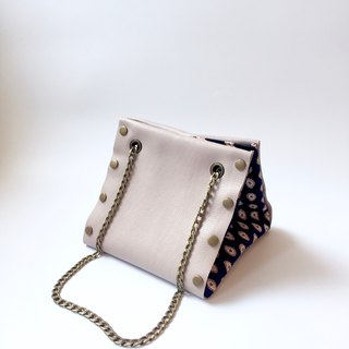 Small Create-your-own Cube Bag with light grey leather