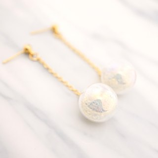 Soap Bubble with White Beads Glass Ball Earrings