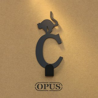 [OPUS Dongqi Metalworking] When the cat encounters the letter C - hook (black) / wall hanging hook / storage without trace