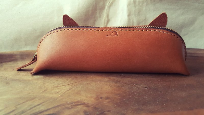 Cat ear vintage yellow pure leather pen case (made for Valentine, birthday gift)