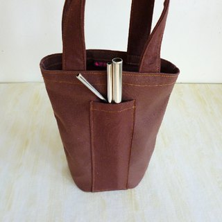 Dark brown plain color environmental protection universal canvas bag ice tyrant cup bag Mason bag