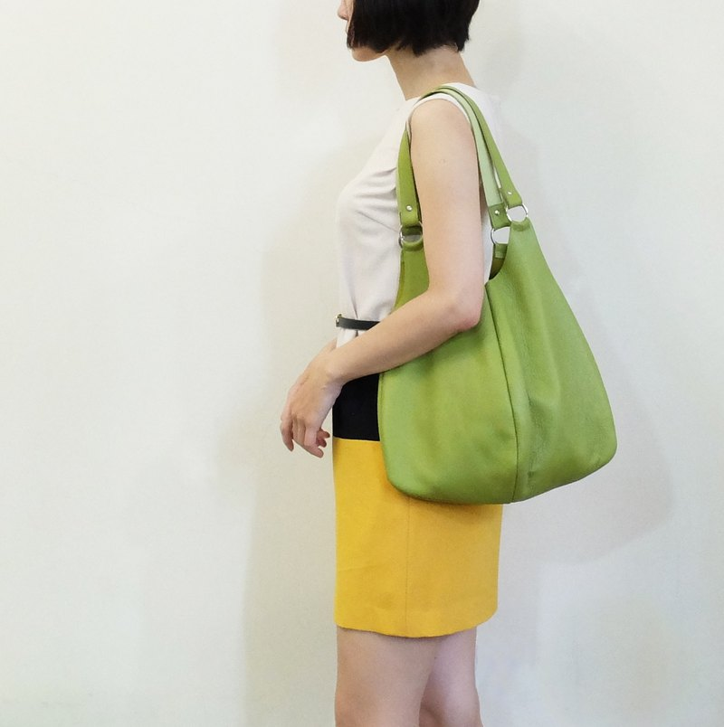Paris Green Tea Lychee Striped Leather Leaf Backpack Yellow Green / Grass Green Only one